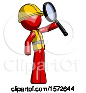 Red Construction Worker Contractor Man Inspecting With Large Magnifying Glass Facing Up