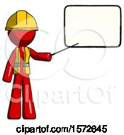 Red Construction Worker Contractor Man Giving Presentation In Front Of Dry Erase Board