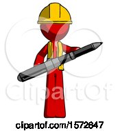 Red Construction Worker Contractor Man Posing Confidently With Giant Pen