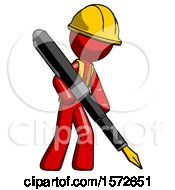 Red Construction Worker Contractor Man Drawing Or Writing With Large Calligraphy Pen