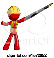 Red Construction Worker Contractor Man Pen Is Mightier Than The Sword Calligraphy Pose
