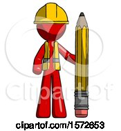 Red Construction Worker Contractor Man With Large Pencil Standing Ready To Write