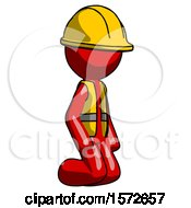 Red Construction Worker Contractor Man Kneeling Angle View Right