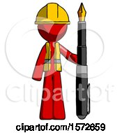Red Construction Worker Contractor Man Holding Giant Calligraphy Pen