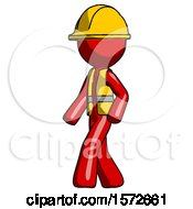 Red Construction Worker Contractor Man Man Walking Turned Left Front View