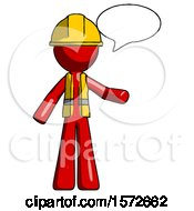 Red Construction Worker Contractor Man With Word Bubble Talking Chat Icon