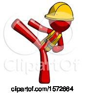 Red Construction Worker Contractor Man Ninja Kick Left