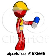 Red Construction Worker Contractor Man Holding Blue Pill Walking To Right