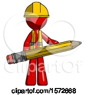 Red Construction Worker Contractor Man Writer Or Blogger Holding Large Pencil