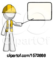 White Construction Worker Contractor Man Giving Presentation In Front Of Dry Erase Board