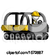 White Construction Worker Contractor Man Driving Amphibious Tracked Vehicle Side Angle View