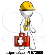White Construction Worker Contractor Man Walking With Medical Aid Briefcase To Right