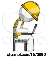 White Construction Worker Contractor Man Using Laptop Computer While Sitting In Chair View From Side