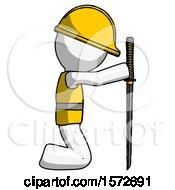 White Construction Worker Contractor Man Kneeling With Ninja Sword Katana Showing Respect