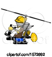White Construction Worker Contractor Man Flying In Gyrocopter Front Side Angle Top View