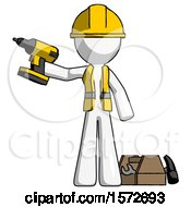White Construction Worker Contractor Man Holding Drill Ready To Work Toolchest And Tools To Right