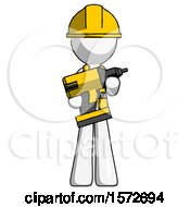 White Construction Worker Contractor Man Holding Large Drill
