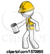 White Construction Worker Contractor Man Begger Holding Can Begging Or Asking For Charity Facing Left