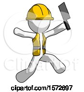 White Construction Worker Contractor Man Psycho Running With Meat Cleaver