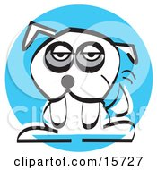 Sad Little White Dog With Dark Circles Under His Eyes Clipart Illustration