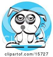 Poster, Art Print Of Sad Little White Dog With Dark Circles Under His Eyes