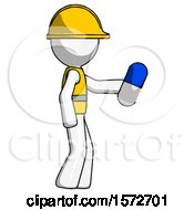 White Construction Worker Contractor Man Holding Blue Pill Walking To Right