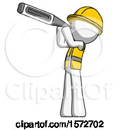 White Construction Worker Contractor Man Thermometer In Mouth