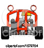 White Construction Worker Contractor Man Riding Sports Buggy Front View