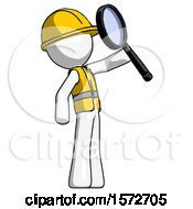White Construction Worker Contractor Man Inspecting With Large Magnifying Glass Facing Up