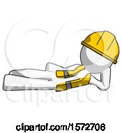 White Construction Worker Contractor Man Reclined On Side
