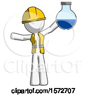 White Construction Worker Contractor Man Holding Large Round Flask Or Beaker