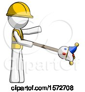 White Construction Worker Contractor Man Holding Jesterstaff I Dub Thee Foolish Concept