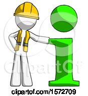 White Construction Worker Contractor Man With Info Symbol Leaning Up Against It