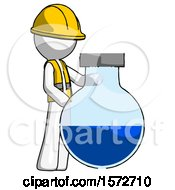 White Construction Worker Contractor Man Standing Beside Large Round Flask Or Beaker