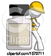 White Construction Worker Contractor Man Leaning Against Large Medicine Bottle