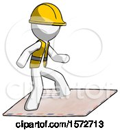 White Construction Worker Contractor Man On Postage Envelope Surfing
