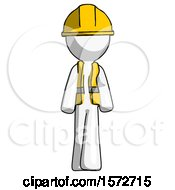 White Construction Worker Contractor Man Walking Front View