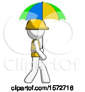 White Construction Worker Contractor Man Walking With Colored Umbrella