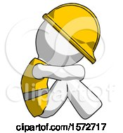 White Construction Worker Contractor Man Sitting With Head Down Facing Sideways Right