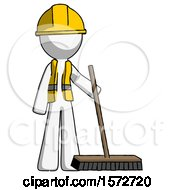 White Construction Worker Contractor Man Standing With Industrial Broom