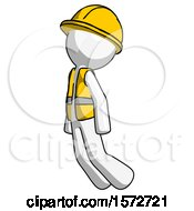 White Construction Worker Contractor Man Floating Through Air Left