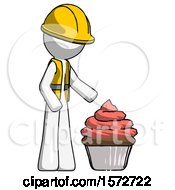 White Construction Worker Contractor Man With Giant Cupcake Dessert