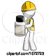 White Construction Worker Contractor Man Holding White Medicine Bottle