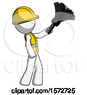 White Construction Worker Contractor Man Dusting With Feather Duster Upwards