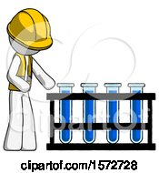 White Construction Worker Contractor Man Using Test Tubes Or Vials On Rack