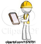 White Construction Worker Contractor Man Reviewing Stuff On Clipboard