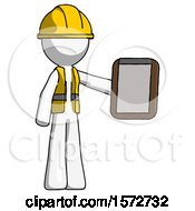 White Construction Worker Contractor Man Showing Clipboard To Viewer