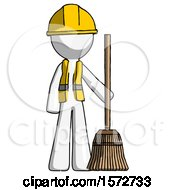White Construction Worker Contractor Man Standing With Broom Cleaning Services