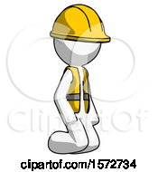 White Construction Worker Contractor Man Kneeling Angle View Right