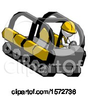 White Construction Worker Contractor Man Driving Amphibious Tracked Vehicle Top Angle View